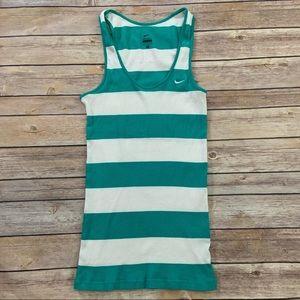 Nike Turquoise Green Striped Tank Top